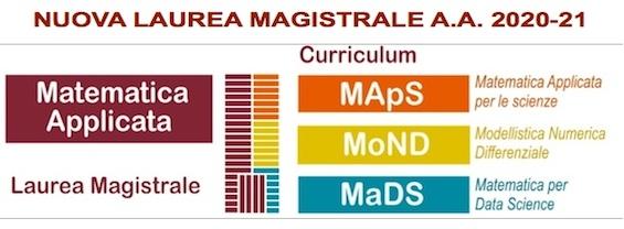 Nuova Laurea Magistrale MATEMATICA APPLICATA a.a. 2020-2021